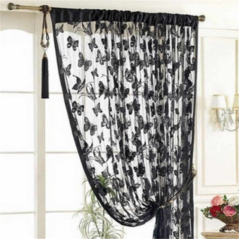 window curtain set living room Window Butterfly Pattern Tassel String Room Chiffon Curtain Divider curtains for living room