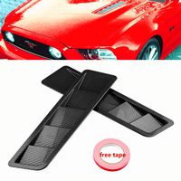 2pcs Universal Carbon Fiber Style Hood Vents For Mustang Air Flow Intake Hood Self Adhesive Louver Window Cooling Panel