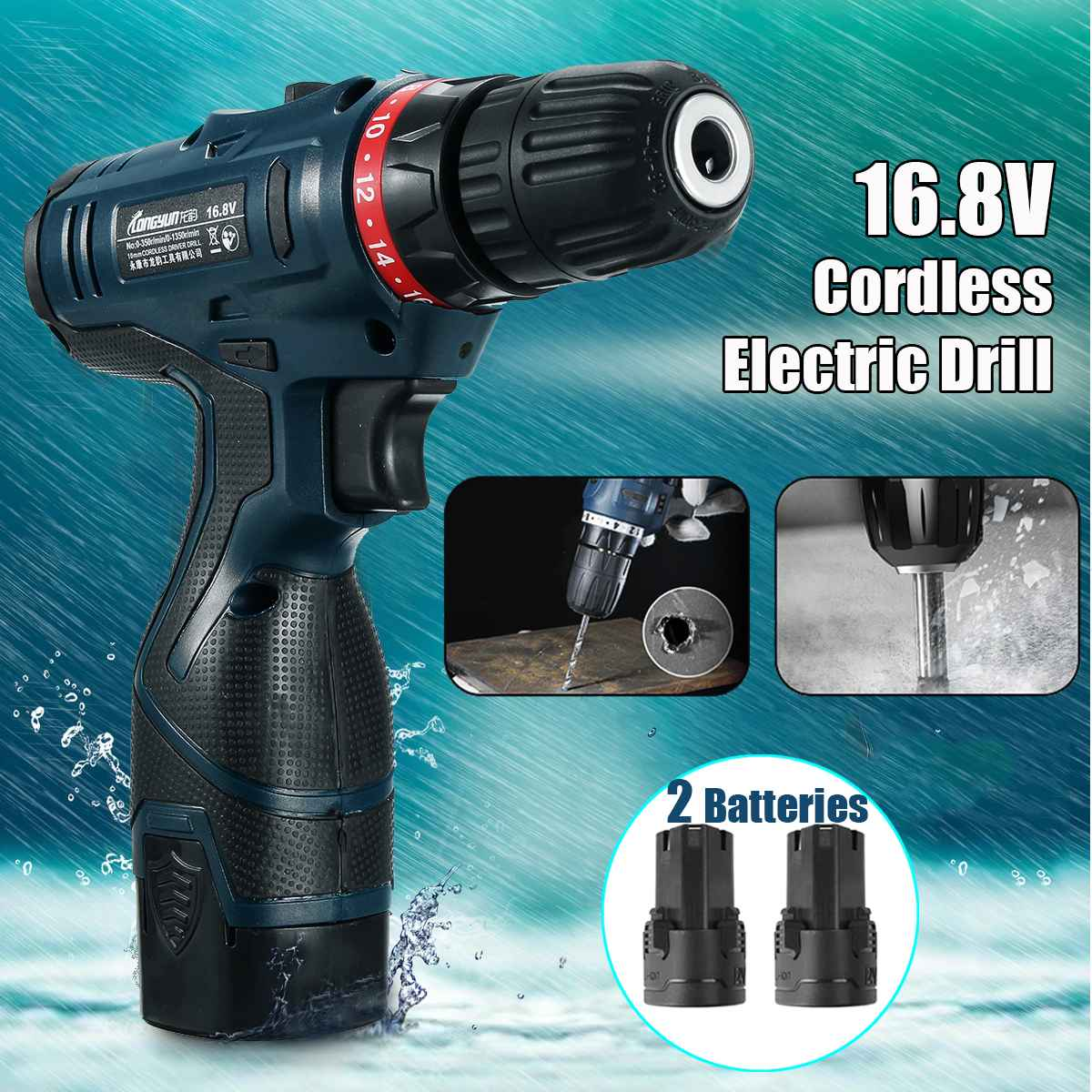 Electric Screwdriver Cordless Drill Impact Drill Power Mini Driver 16.8V Lithium-Ion Battery LED 10mm 2-Speed Power Tools spta 4 100mm genuine wool buffing ball polishing pad ball hex shank turn power drill or impact driver high speed polisher