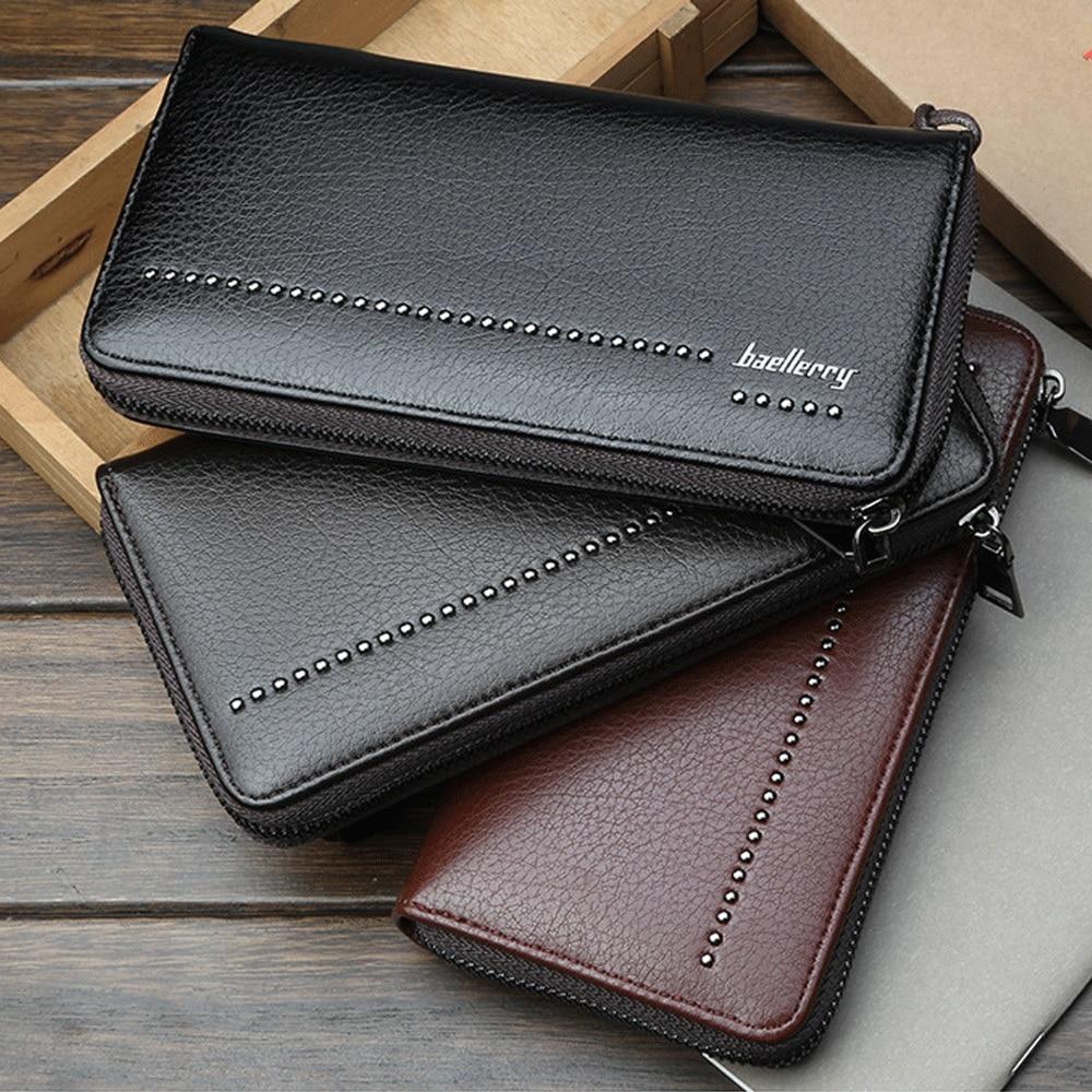 Men's Fashion Wallet Solid Color Waterproof Classic Zipper Long Card Package