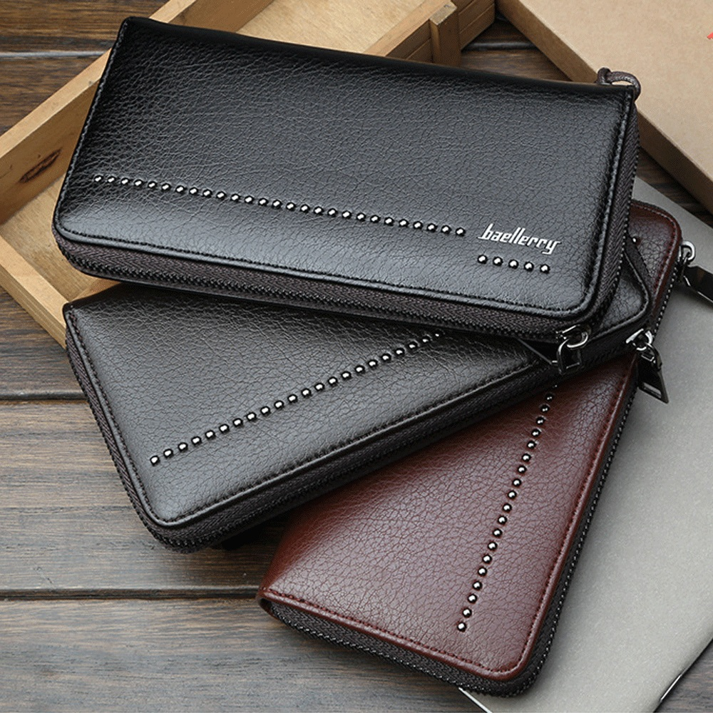 Vintage Men's Fashion Wallet PU Leather Solid Waterproof ID Credit Card Holder Card Pack Long Purse