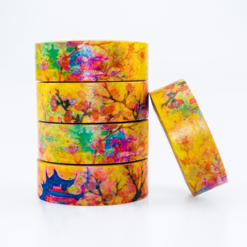 Japanese Autumn Leaves Washi Masking Tape Sticky Color Decorative Tape Set DIY Decoration Office Stationery Scrapbook 1PCS