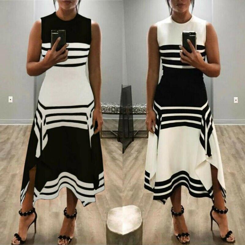 Women Dress Summer Casual Stripe Sleeveless Round Neck Slim Midi Tank A Line Lady Dress