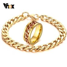 Vnox Mens Cuban Link Chain Jewelry Sets Gold Tone Stainless Steel Spinner Ring and Bracelet Relieve Anxiety Gifts for Male Boy(China)