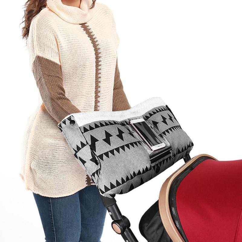 Baby Stroller Pram Winter Thicken Warm Golves Stroller Buggy Pram Hand Warm Covers Hand Muff With Pocket Stroller Accessories