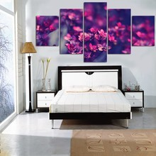 Abstract Picture Canvas Wall Art Prints Painting Home Decor 5 Pieces Purple Flowers Landscape Poster For Living Room Framework