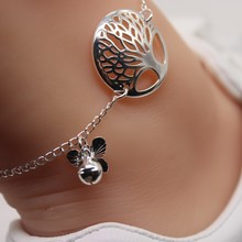Trendy Butterfly Anklets For Women Unique Design Carve Life Tree Chain Anklet Bell Ankle Leg Bracelet Foot Charms Cadeau Femme charming faux ruby bell anklet for women