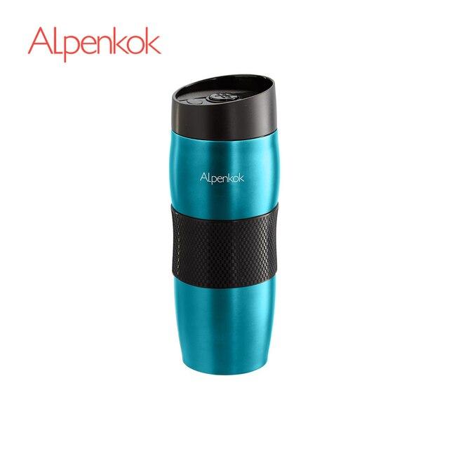 Термокружка  вакуумная Alpenkok Бирюзовая 400мл, Противоскользящее покрытие дна, Кнопка открывания/закрывания клапана, Сохраняет температуру в течение 6 часов, Пластиковая крышка на резьбе