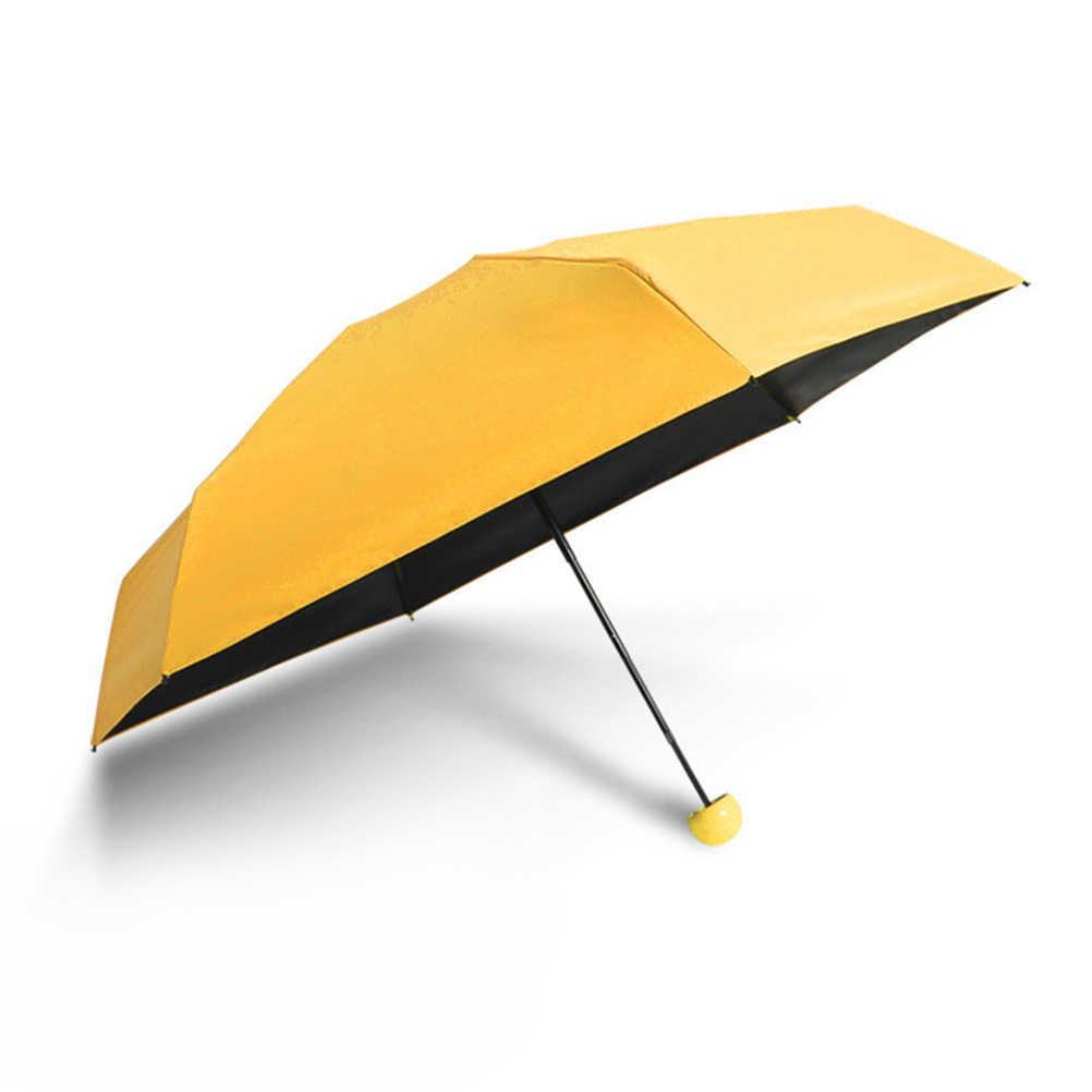Маленький складной компактный карманный зонтик с симпатичная капсула случае анти-УФ (желтый)