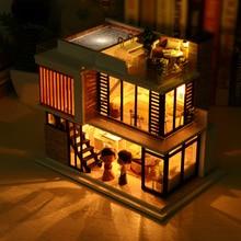 1:32 Casa de Boneca Móveis casa de bonecas DIY Handmade 2 Pisos De Madeira kits de Casa de Bonecas