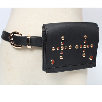 New Metal Buckle Cross Rivets Bag Decorative PU Leather Belts