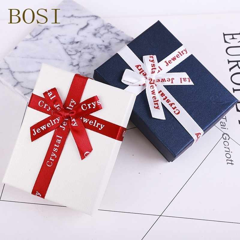 1pc box Engagement Ring For Earrings Necklace box Bow Square jewelry organizer  Display Gift Box Holder red white navy new hot