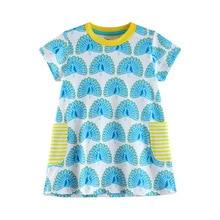 2019 Summer Toddler Girls Dress 2-7T Peacock print dress clothing short sleeve kids dresses Chidlren Clothes Lovely outfit