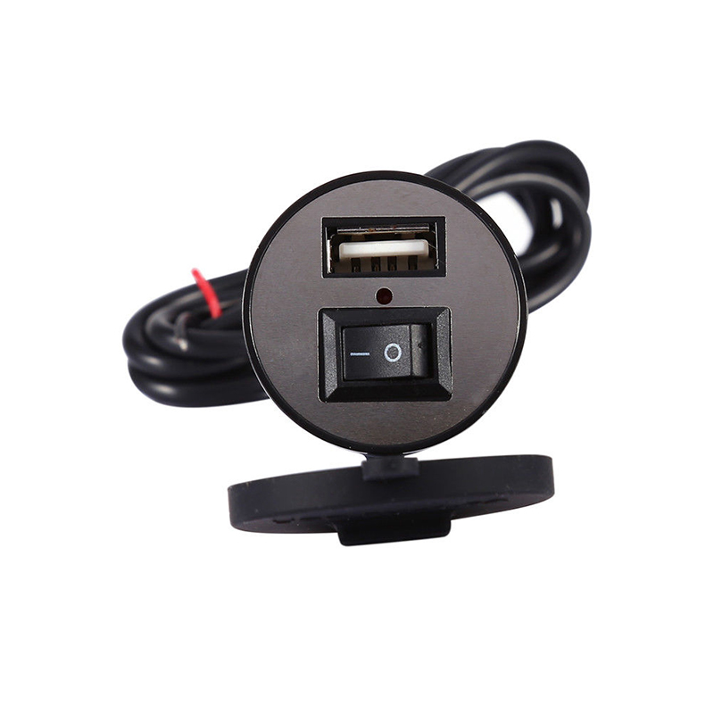 100% Brand New Motorcycle USB Mobile Phone GPS Power Charger Adapter With Switch Waterproof Universal 12V Power Converter
