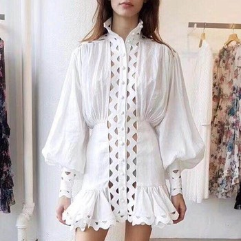 Long Sleeve High Waist Hollow Out Ruffle Hem Shirt Dresses  1