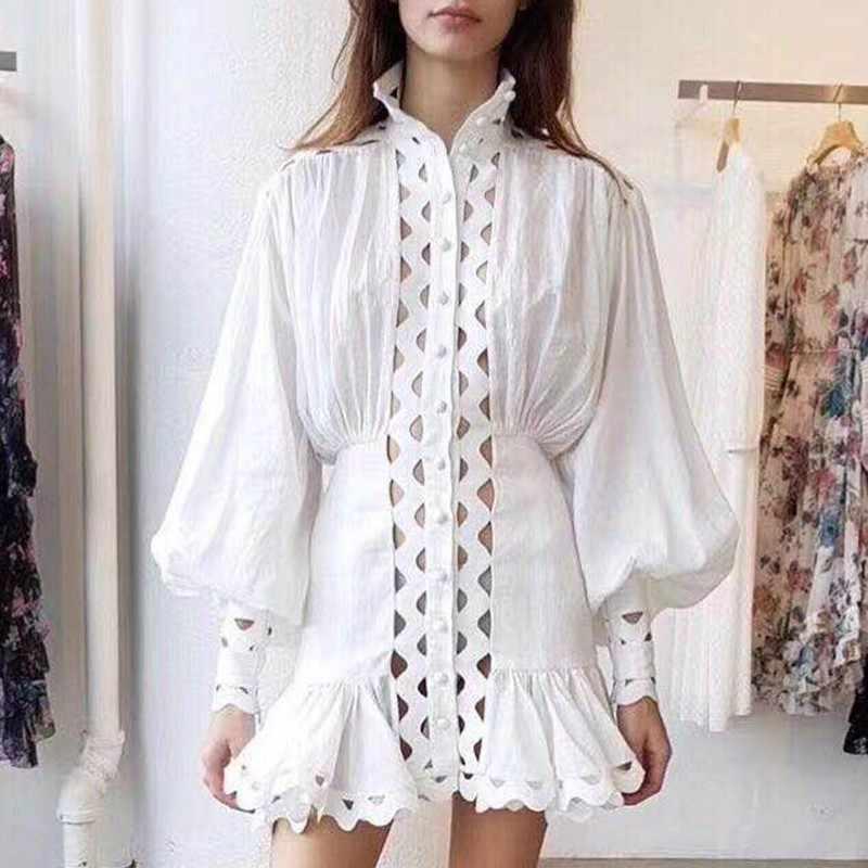 TWOTWINSTYLE облегающее платье женские фонарики с длинными рукавами женские Леггинсы для йоги с рюшами на подоле рубашки платья для женщин 2019 Осенняя мода