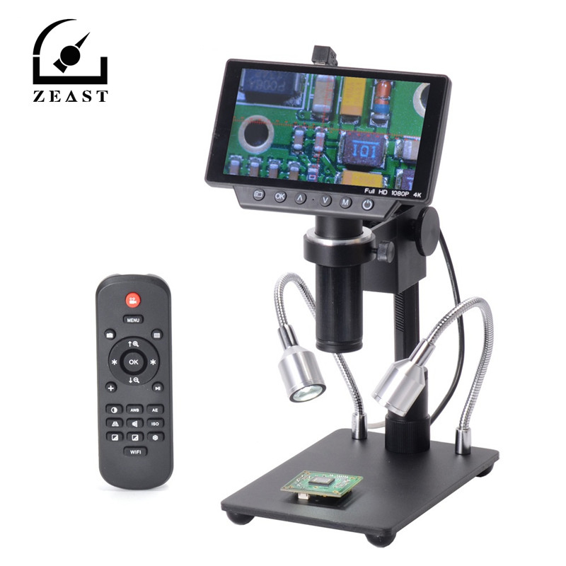 5 дюймов Экран 16MP 4 K 1080 P 60FPS USB и WI FI цифровой микроскоп промышленности Камера 150X C mount объектив 1/2 образования легкой пены. 3 Датчик изображения
