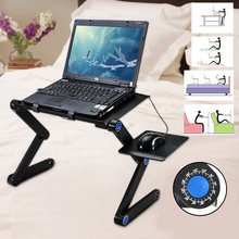 Portable 360 Folding Laptop Desk Computer Table 2 Holes Cooling Notebook Table with Mouse Pad Laptop Stand Desk Holder for Bed(China)