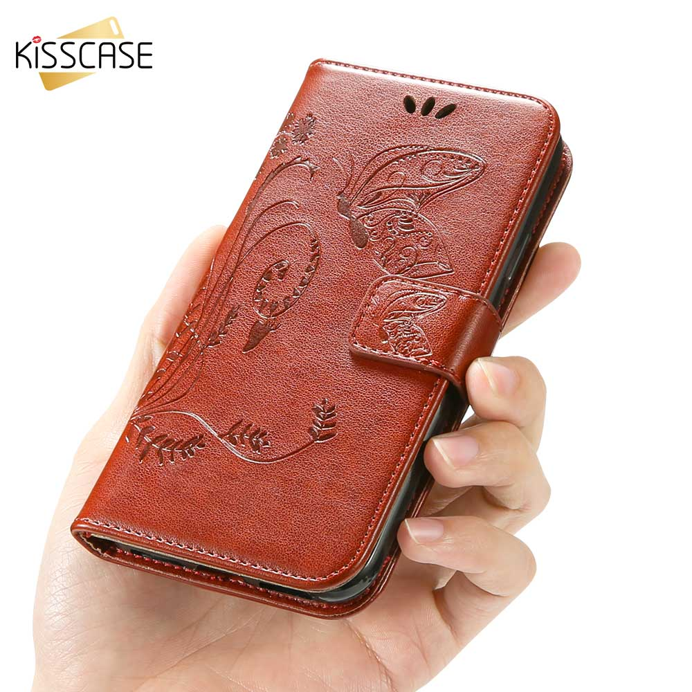 KISSCASE Leather Wallet Case For Samsung Galaxy A7 A9 A6 A8 Plus 2018 A3 A5 A7 2016 2017 Butterfly Patterned Flip Phone Cover