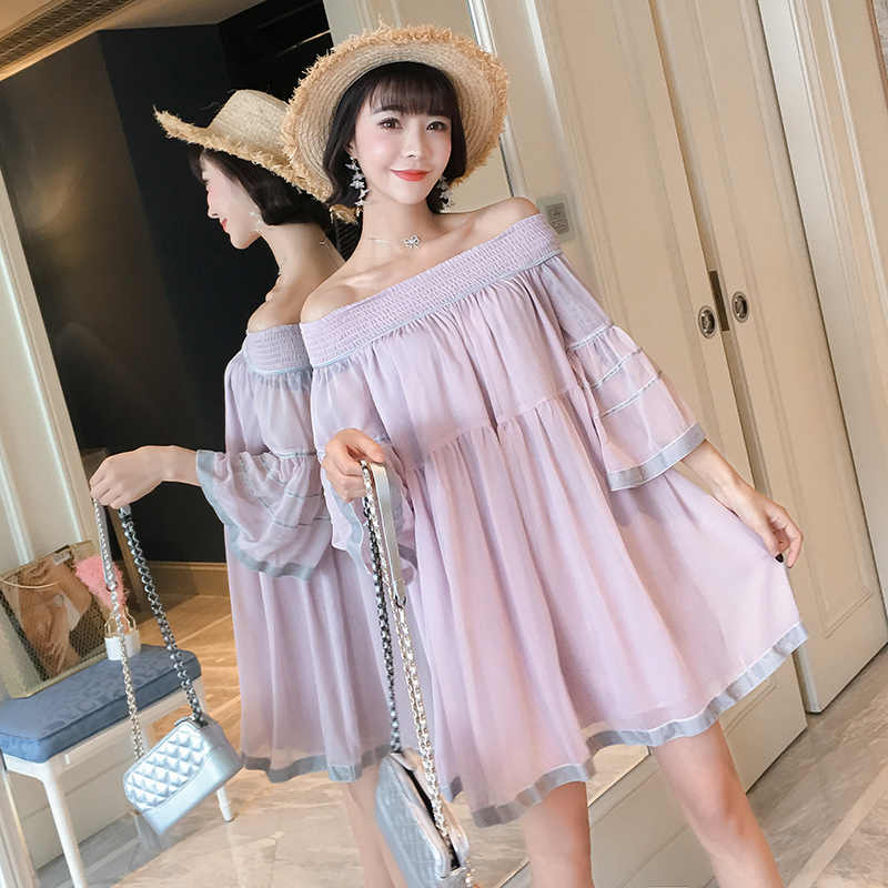 Plus size spring and summer sleeve chiffon fairy shirts maternity clothes stretched slash neck pregnant women chiffon blouses