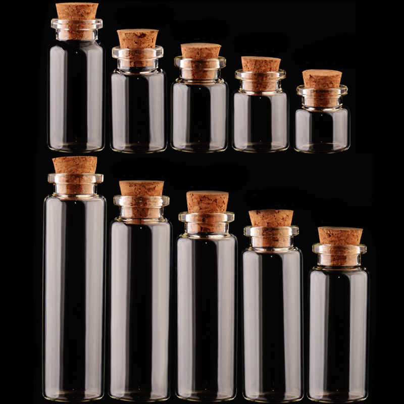 Hot 1PC ขวดแก้ว DIY Jars ข้อความ Vials Cork Stopper เครื่องประดับมินิตกแต่งภาชนะขนาดเล็ก Mason Jar โปร่งใส
