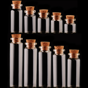 Hot 1PC Glass Bottle DIY Jars Message Vials Cork Stopper Ornaments Mini Decoration Small Containers Mason Jar Transparent