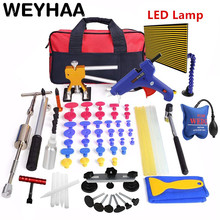 лучшая цена WEYHAA PDR Tools Kit Paintless Dent Repair Dent Removal Car Tools Repair Dent Puller LED Lamp Reflector Board Hand Tool Set 8