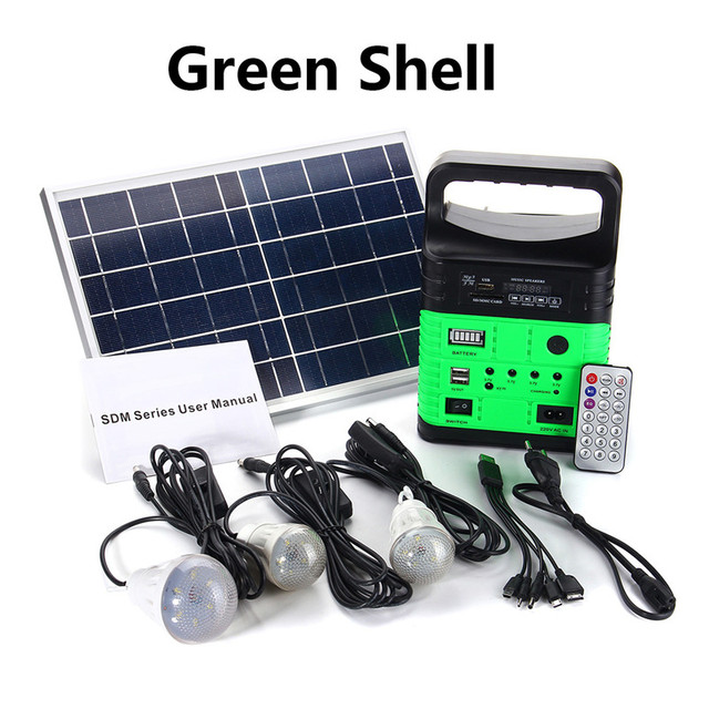 Smuxi Portable Solar Generator Outdoor Power Mini DC6W Solar Panel 6V-9Ah Lead-acid Battery Charging LED Lighting System 2