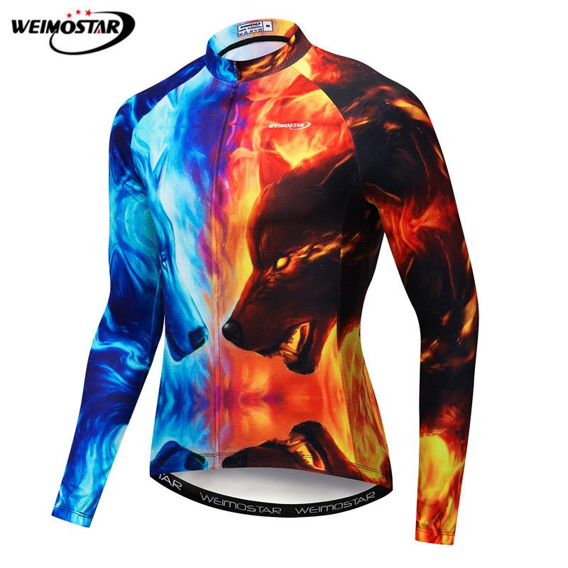 Weimostar Men s Cycling Jersey Long Sleeve Autumn 3D Printing Wolf Cycling Clothing Quick Dry Bicycle