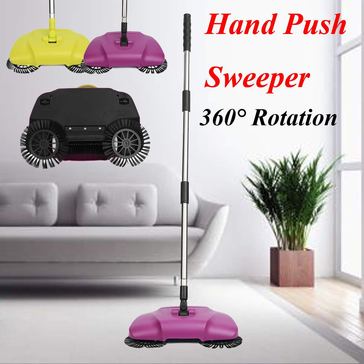 Stainless Steel Sweeping Machine 360 Degree Rotating Cleaning Push type Magic Broom Household Cleaning Hand Push Sweeper mop(China)