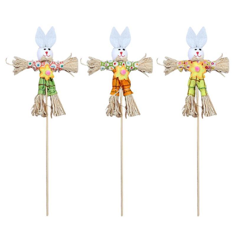 DIY Straw Rabbit Toy Easter Ornament Home Decorative Gadgets Children Creative Gift Party Supplies Craft Birthday Kindergarten