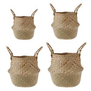 Image 2 - Foldable Storage Basket Creative Natural Seagrass Rattan Straw Wicker Folding Flower Pot Baskets Garden Planter Laundry Supplier