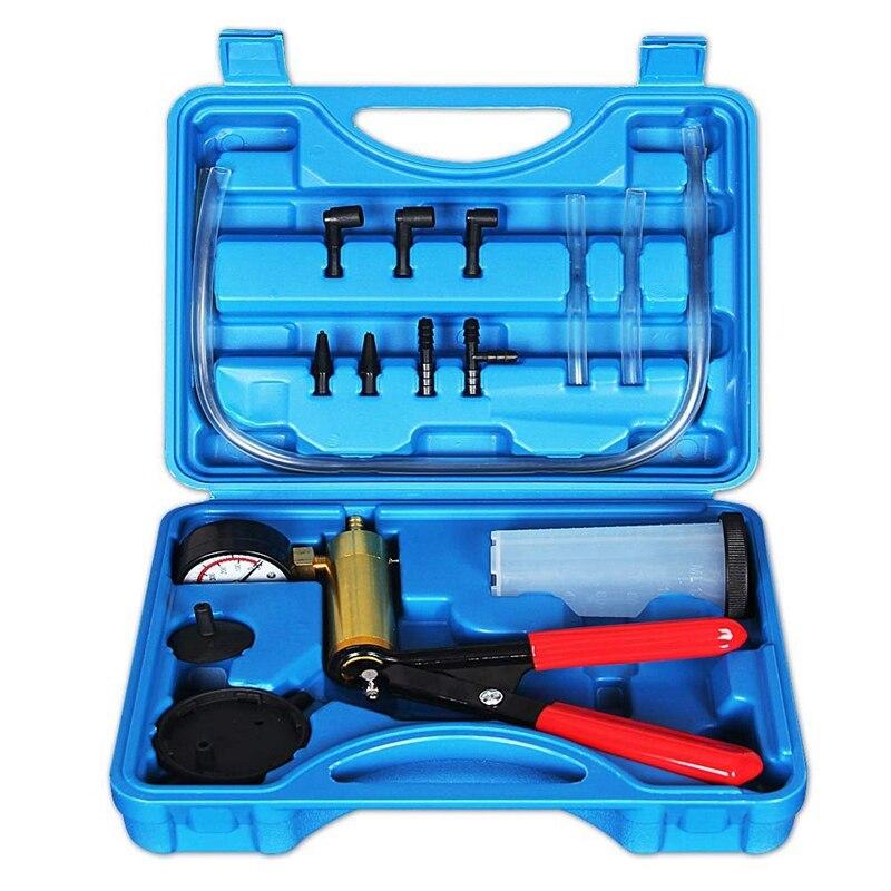 2 In 1 Rem Pemeras Kit Hand Held Vacuum Pump Test Set untuk Otomotif dengan Spons Dilindungi, adapter, Satu Orang Rem dan C title=
