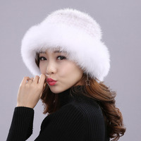 Mink Hats Weave Princess Hat Thick Soft Real Mink Fur Casual Hat Women Winter Knitted Cap