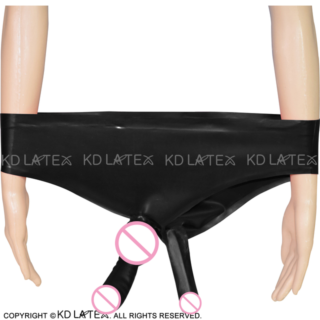 Black Sexy Rubber Latex Briefs With Anatomical Penis Sheath And Anal Condom Shorts Bottoms DK-0008
