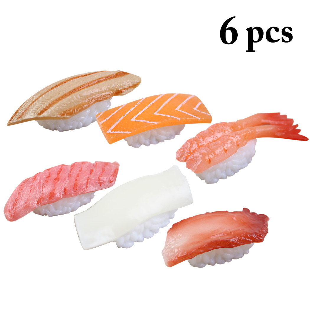 6PCS Artificial Food Assorted Realistic Sushi Fake Food Model Photography Prop