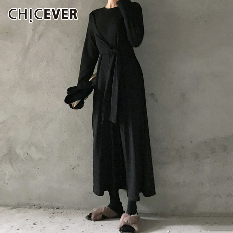 CHICEVER Autumn   Jumpsuit   For Women O Neck Long Sleeve High Waist Lace Up Slim Loose Wide Leg   Jumpsuits   Fashion Tide 2018