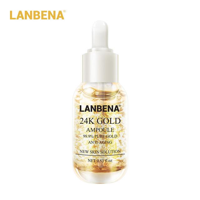 LANBENA  24k Gold Ampoule Serum Essence Whitening Anti Wrinkle Anti Aging Fine Lines  Firming Face Cream Moisturizing Skin Care