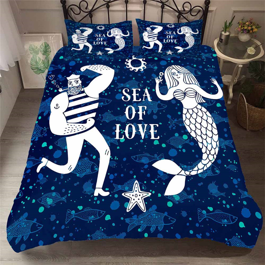 Bedding Set 3D Printed Duvet Cover Bed Set Sea Mermaid Home Textiles For Adults Lifelike Bedclothes With Pillowcase MRY27