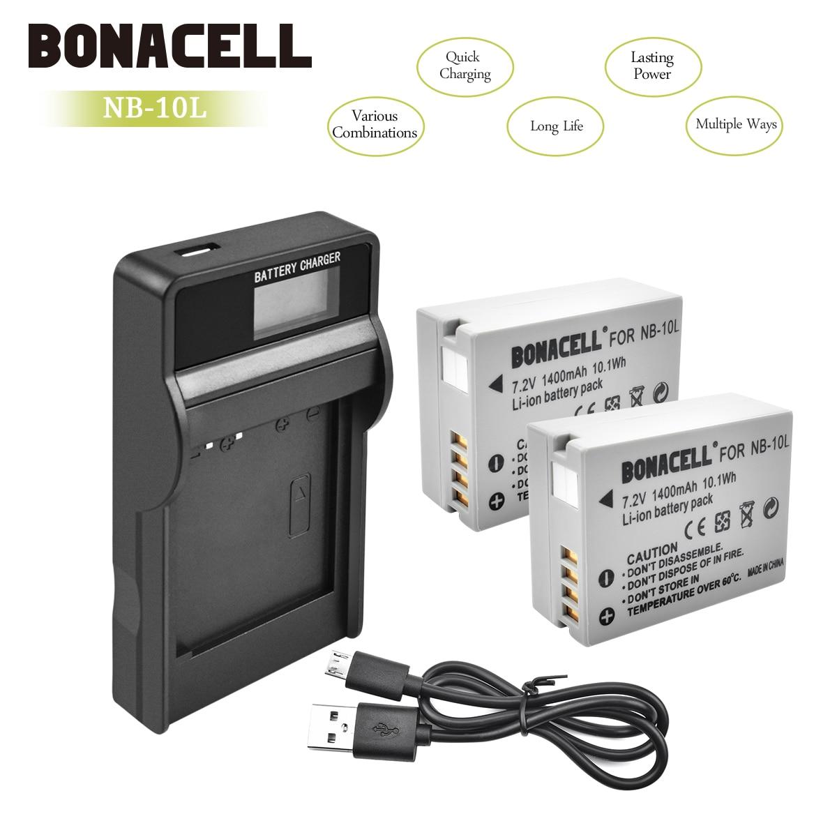 Bonacell 1400mAh NB-10L NB10L NB 10L Batteries+LCD Charger For Canon G1X G15 G16 SX40HS SX50HS SX60HS SX40 SX50 SX60 Bateria L10