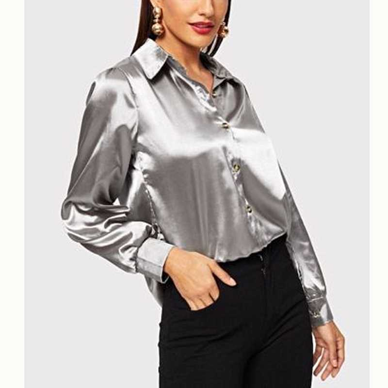 New Stylish Women's Long Sleeve Satin Shirt Blouse Female Formal OL Ladies Loose Silk Satin Shirts Button Top Blouses Femme