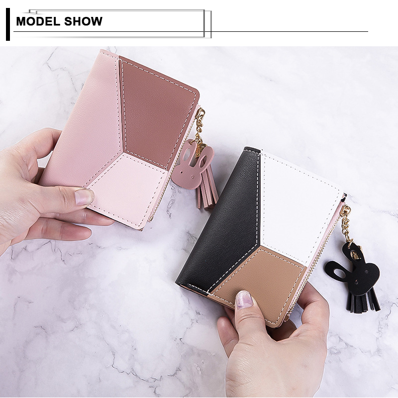 Patchwork Tassel Women Short Wallet New Design Zipper Coin Purse Casual Brief Card Holder For Lady Pocket Fresh Girl Clutch Bag in Wallets from Luggage Bags