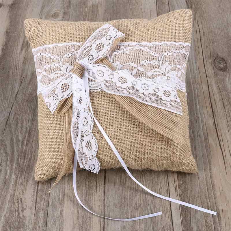 20 x 20cm Burlap Hessian Rustic Wedding Ring Pillow Cushion Ring Bearer Lace Flower for Wedding Ceremony Wedding Supplies