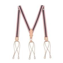 2.5cm Gentleman Retro First Layer Cowhide Suspenders Trousers Sling Elastic Suspender Leather Belt For Men Women Button Strap