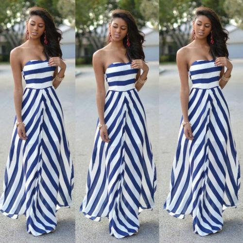 Womens Off Shoulder Striped Maxi Dress Party Long Maxi Beach Sundress Sexy Sleeveless Backless Dress Summer Dress Womens 2019