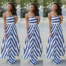 Womens Off Shoulder Striped Maxi Dress Party Long Maxi Beach