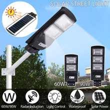 Водонепроницаемый IP67 60/90 Вт 120/180LED Солнечный уличный светильник радар+ PIR датчик движения наружные настенные лампы на солнечной батарее пейзаж садовый светильник s