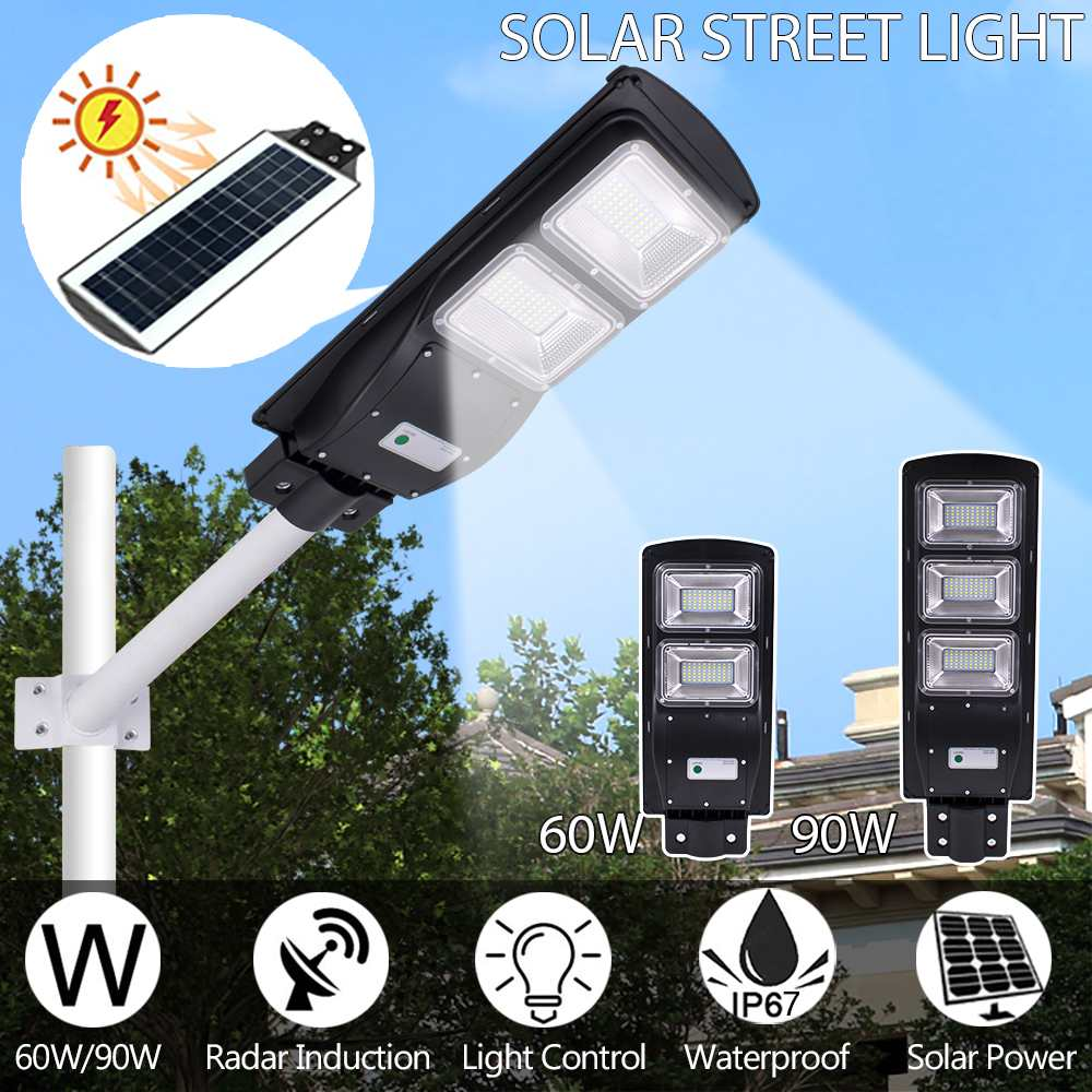60W 90W LED Solar Powered Wall Street Light Radar Sensor Outdoor Garden Lamp US