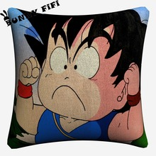 Kids Son Goku Anime Cushion Covers DIY Decorative Square Throw Pillow Cover Chair Sofa Seat Car Cotton Linen Pillowcase Soft цены