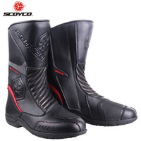 SCOYCO Leather Motorboats Motorcycle Boots Moto Motorbike Biker Boot Motorcycle Riding Shoes Botas Waterproof Protector Boots